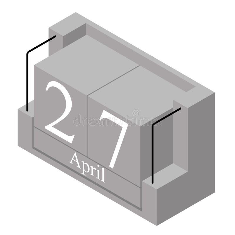 Дата 27-ое апреля на в течение одного дня календаре Серая дата 27 календаря деревянного блока присутствующая и месяц апрель изоли стоковые изображения