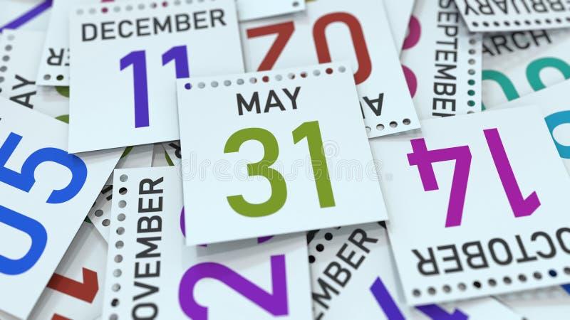 Дата 31-ое мая на лист календаря r бесплатная иллюстрация