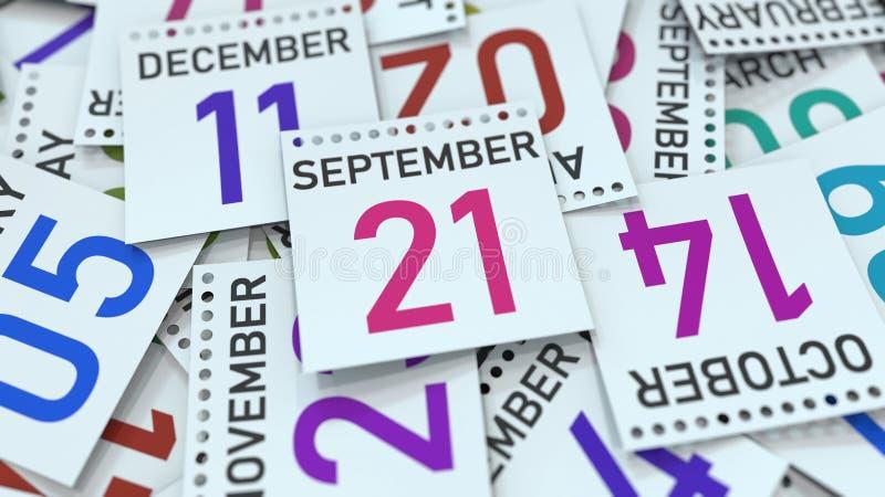 Дата 21-ое сентября на странице календаря r иллюстрация вектора