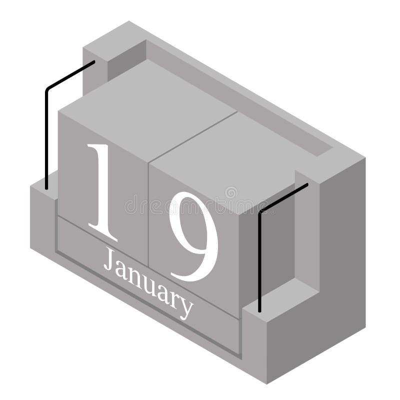 Дата 19-ое января на в течение одного дня календаре Серая дата 19 календаря деревянного блока присутствующая и месяц январь изоли иллюстрация штока