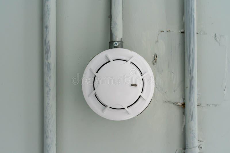 Датчик индикатора дыма на потолке цемента в автостоянке стоковое изображение rf