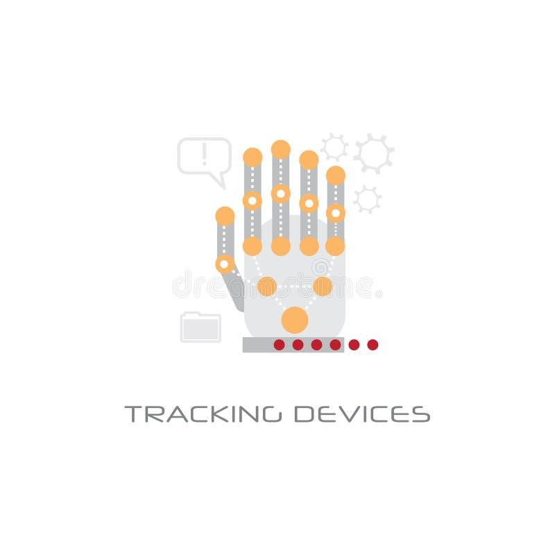 Датчик ладони концепции технологии доступа приборов руки электронный отслеживая соединил линию предпосылку электродов стиля белую бесплатная иллюстрация