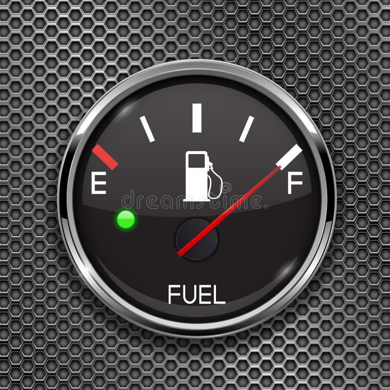 Датчик уровня горючего показывая полный танк полный бак Круглый черный прибор приборной панели 3d автомобиля на металле пефориров бесплатная иллюстрация