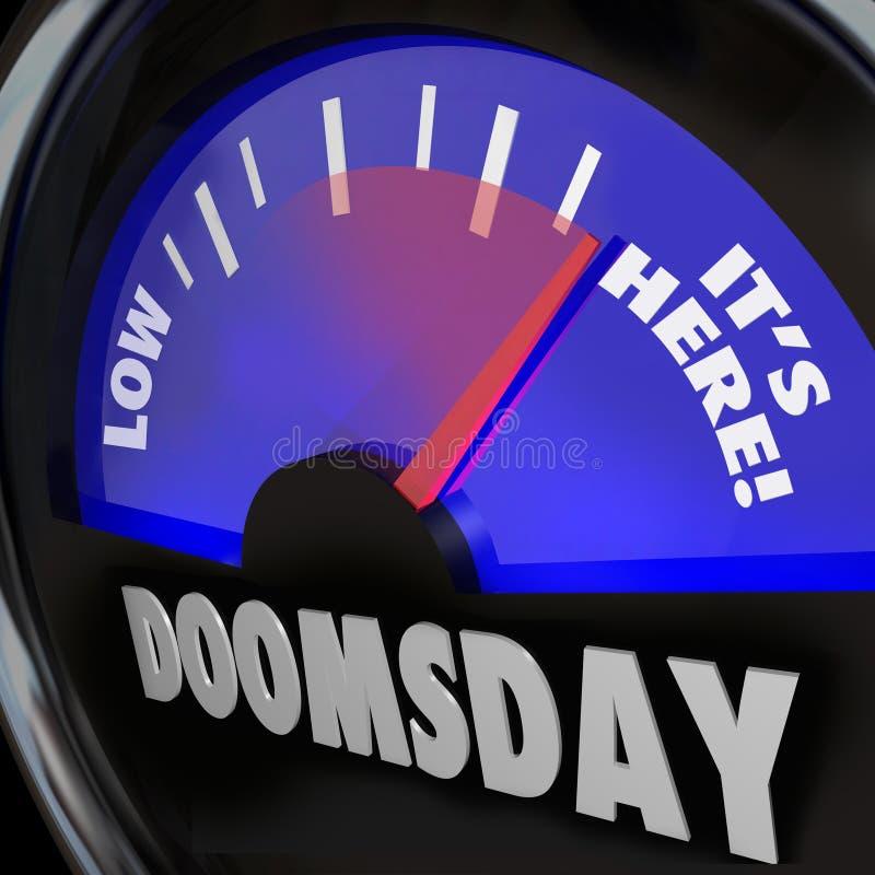 Датчик часов дня страшного суда оно здесь конец времени дней иллюстрация вектора