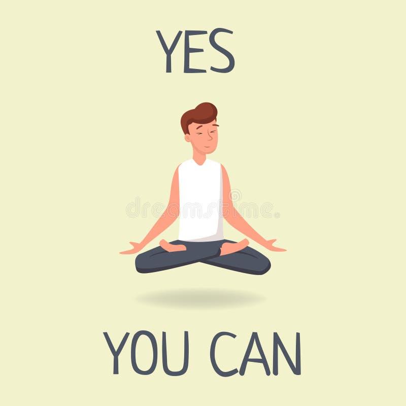 Да вы можете плоско иллюстрация вектора Молодой человек levitating и размышляя усаживание в представлении лотоса, практикуя йоге бесплатная иллюстрация