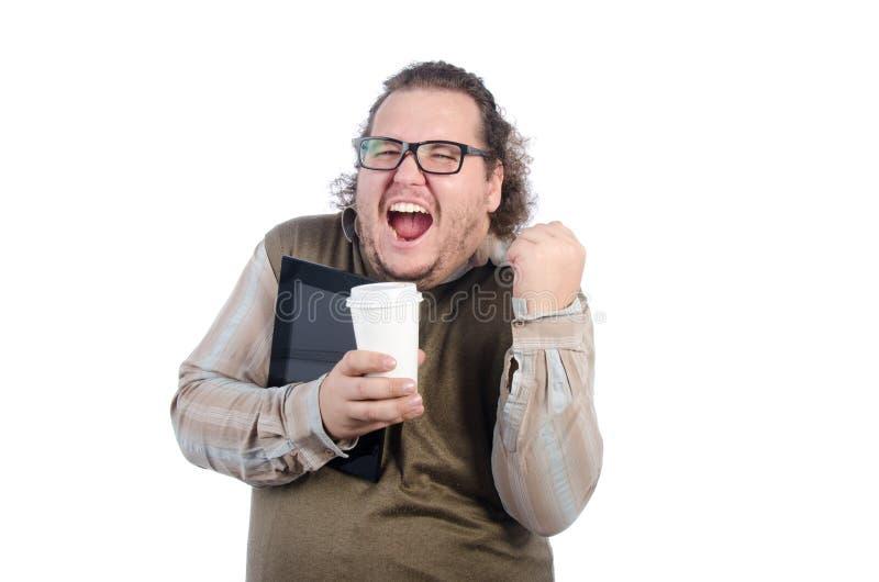 да Счастливый парень с таблеткой и кофе стоковое фото rf