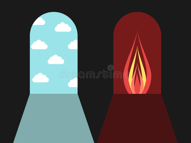 Двери ада и рая иллюстрация вектора