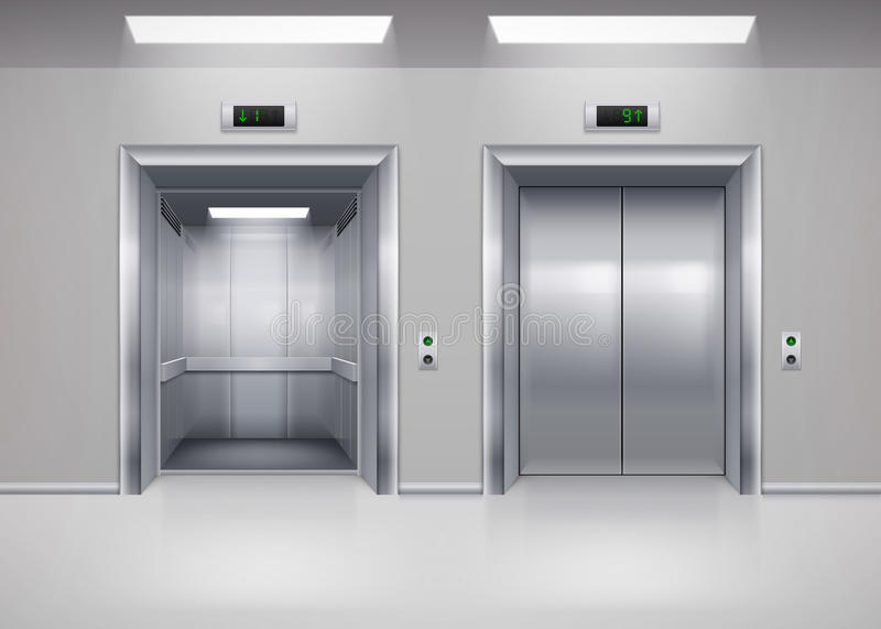 Двери лифта иллюстрация штока