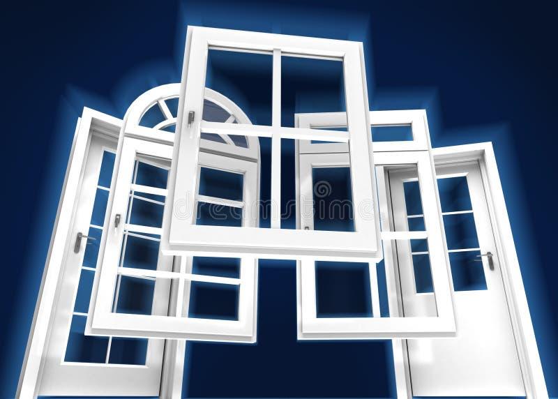 Двери и каталог окон, голубой иллюстрация штока