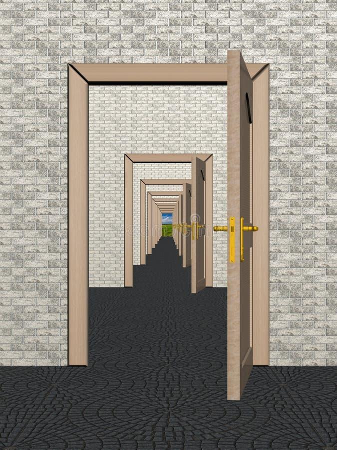 двери раскрывают рядок иллюстрация штока