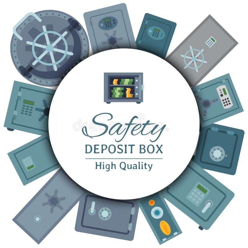 Двери свода денег картина безопасной стальной круглая Иллюстрация вектора предохранения от коробки дела безопасности за наличные  иллюстрация штока