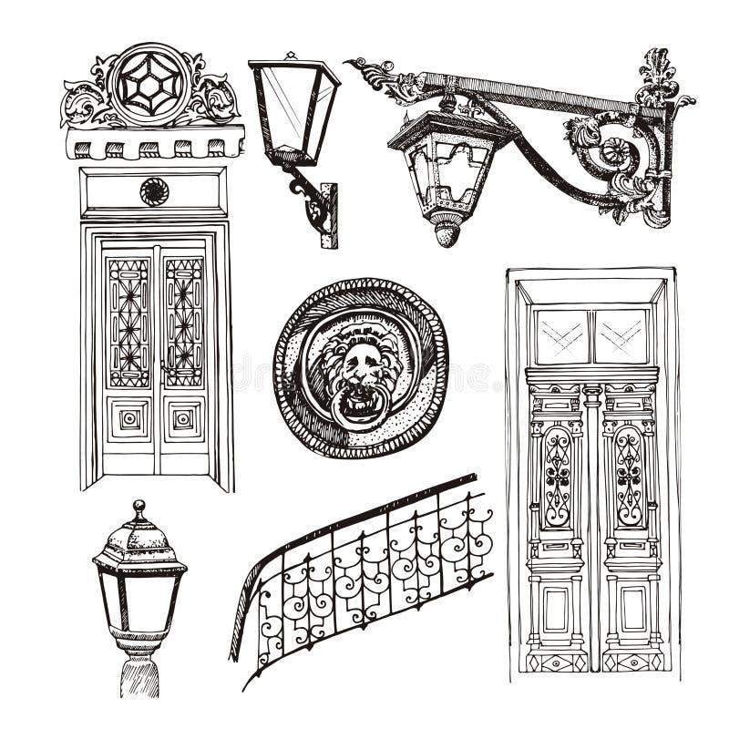 Двери старого стиля и элементы здания изолированные на белом backgrou иллюстрация вектора