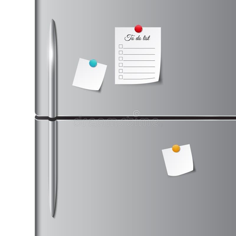 Двери холодильника и пустое бумажное примечание, стикер, и сделать список бесплатная иллюстрация