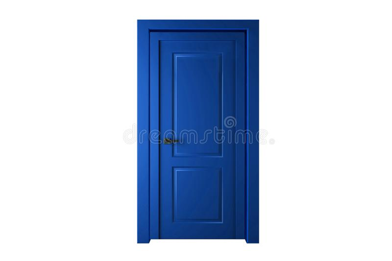 Дверная рама одиночной голубой двери закрытая только, отсутствие стен иллюстрация штока
