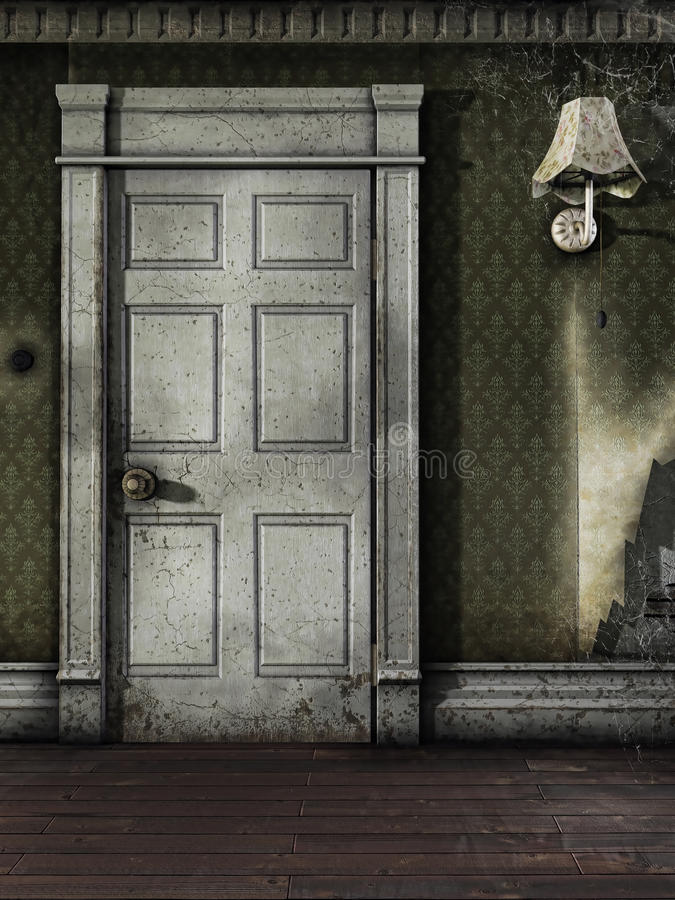 Дверь в старой комнате иллюстрация вектора