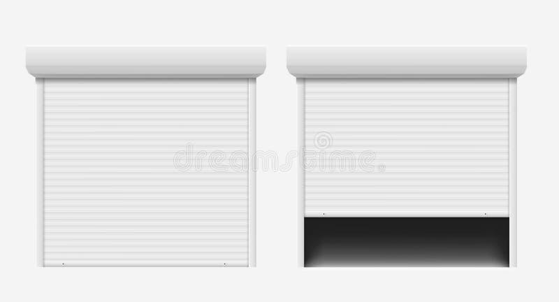 Дверь гаража Автоматическая дверь конструкции, дверь алюминиевого входа шторки стальная Безопасные шторки ролика защищают систему иллюстрация вектора