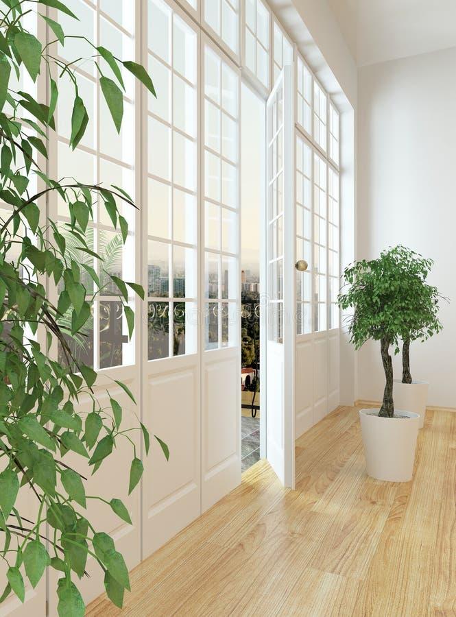 Дверь живущей комнаты на патио иллюстрация штока