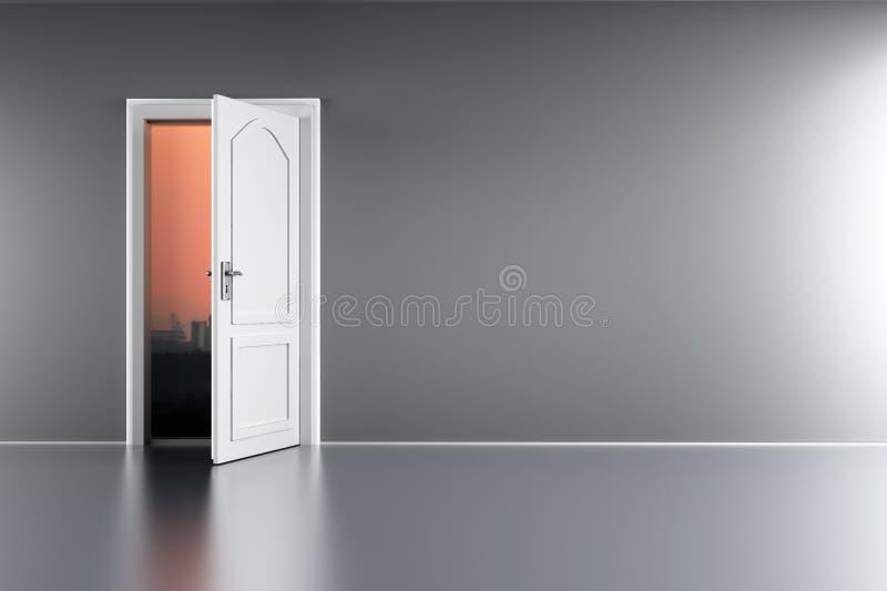 Дверь к наступлению ночи иллюстрация штока