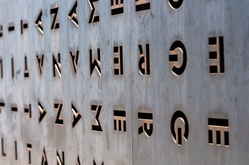 Дверь металла с отверстиями в форме писем стоковое фото rf