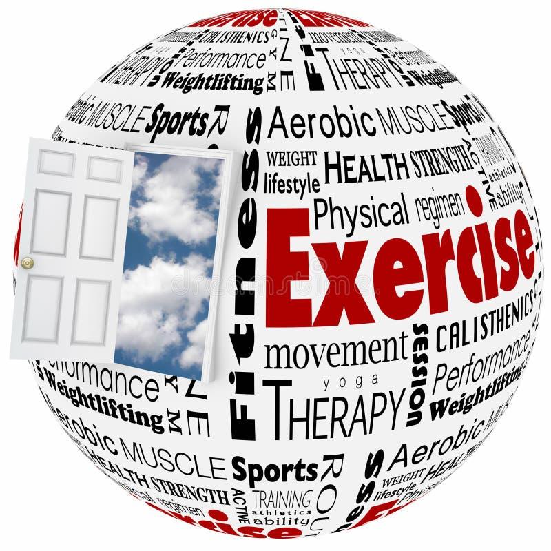 Дверь образа жизни физического здоровья тренировки активная к возможности бесплатная иллюстрация