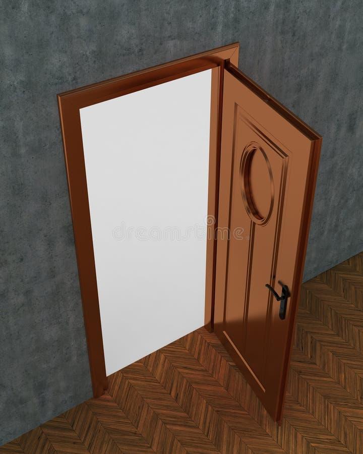 Дверь открытая и конкретная иллюстрация вектора