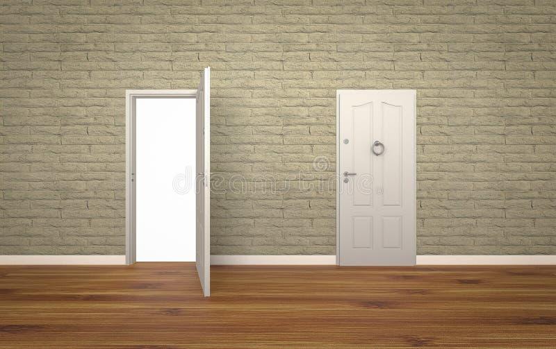 Дверь открытая на кирпичной стене, 3d, белой предпосылке стоковое фото rf