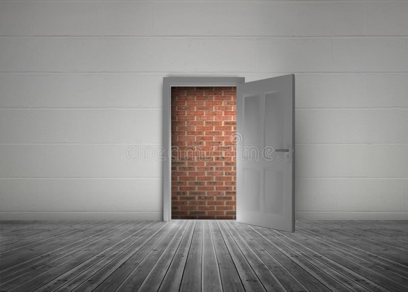 Дверь открытая показать красную кирпичную стену преграждая путь бесплатная иллюстрация