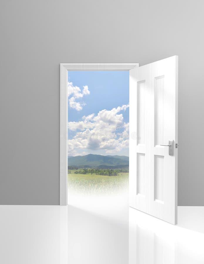 Дверь раскрывая к авантюрному внешнему отключению в одичалом иллюстрация вектора