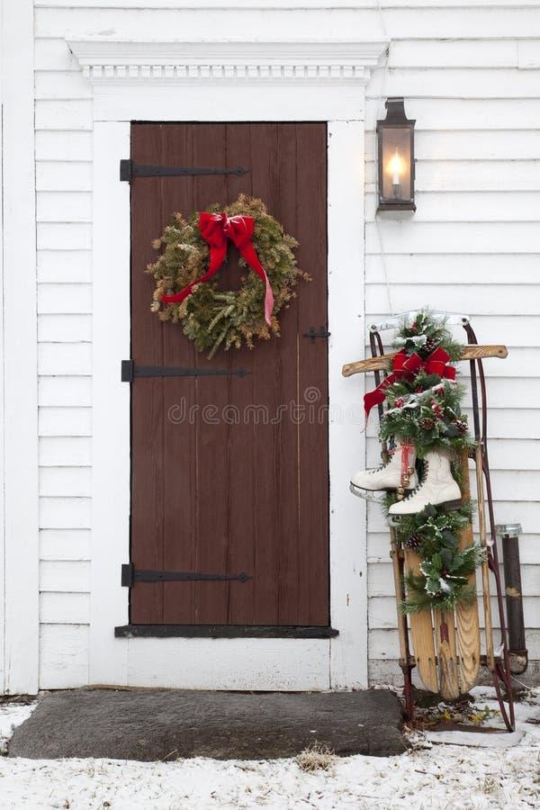 дверь рождества старая стоковое изображение rf