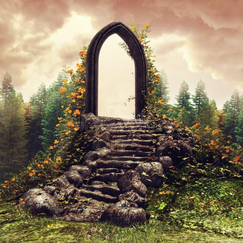 Дверь фантазии на луге бесплатная иллюстрация