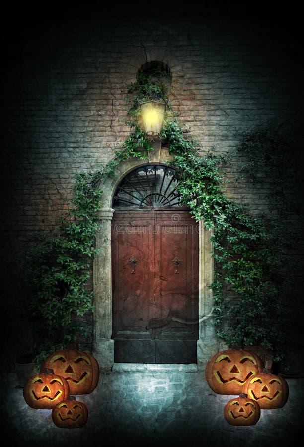 Дверь хеллоуина на ноче бесплатная иллюстрация