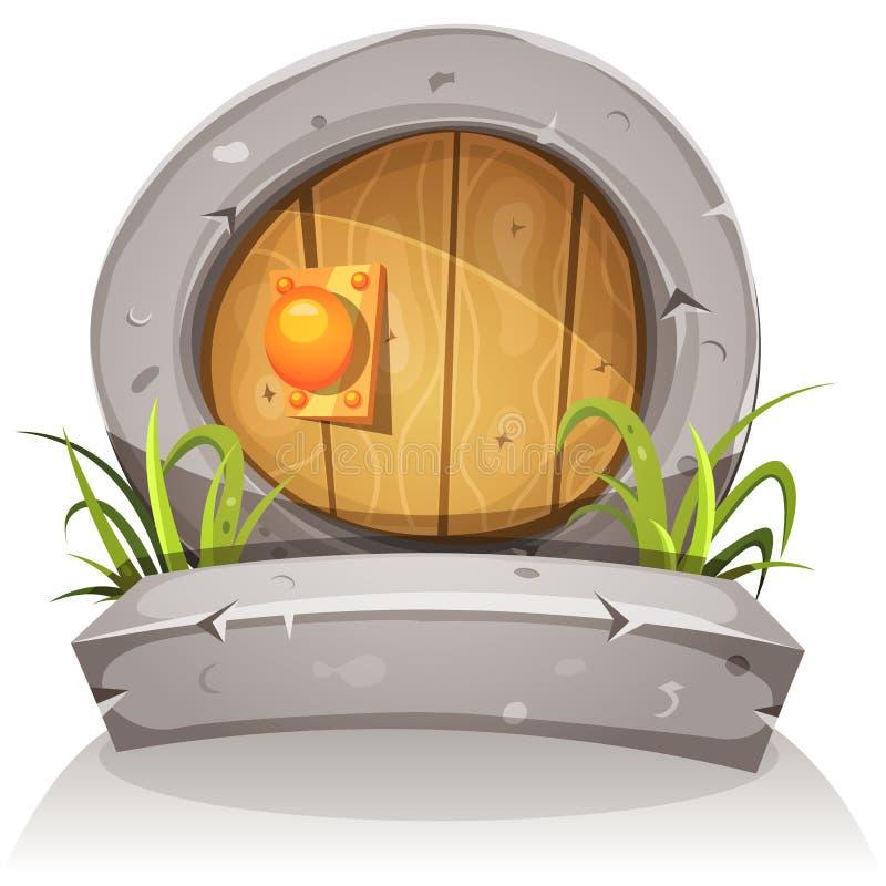 Дверь шаржа деревянная и каменная Hobbit для игры Ui иллюстрация вектора