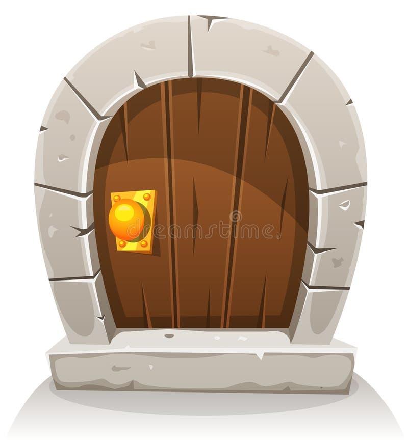 Дверь шаржа деревянная и каменная Hobbit иллюстрация вектора