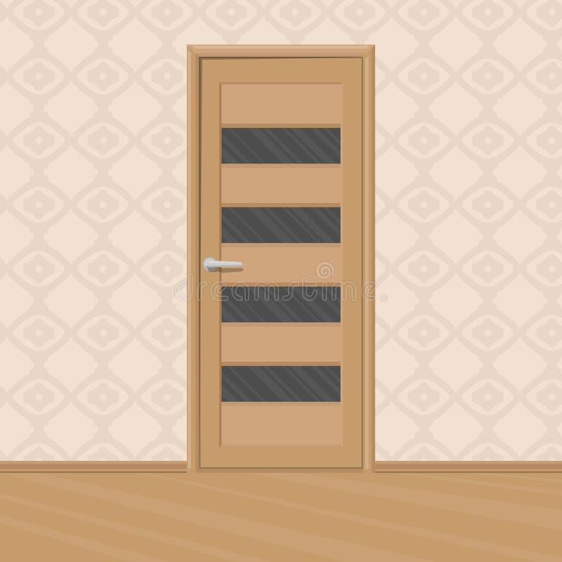 Дверь шаржа коричневая деревянная новая с рамками ` s двери стеклянными в комнате конструированный тип комнаты домашнего интерьер иллюстрация штока