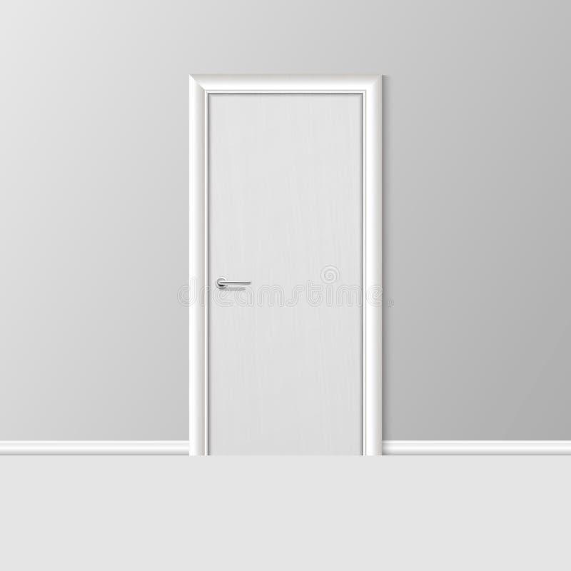 Дверь 3d вектора реалистическая простая современная белая закрытая с рамкой на серой стене в пустой комнате Элемент дизайна интер иллюстрация штока