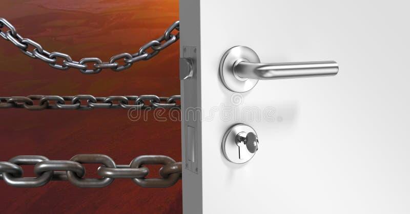 дверь 3D и цепи иллюстрация штока