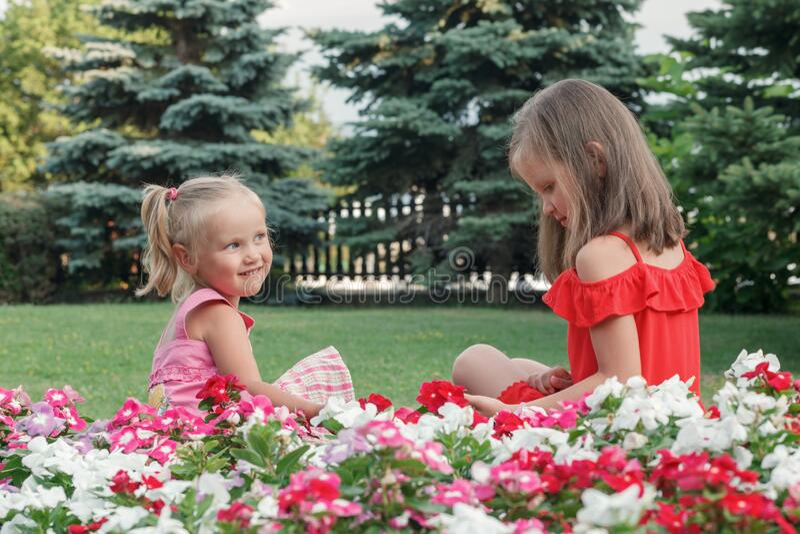 Две блондинки в красных и розовых платьях стоковое изображение