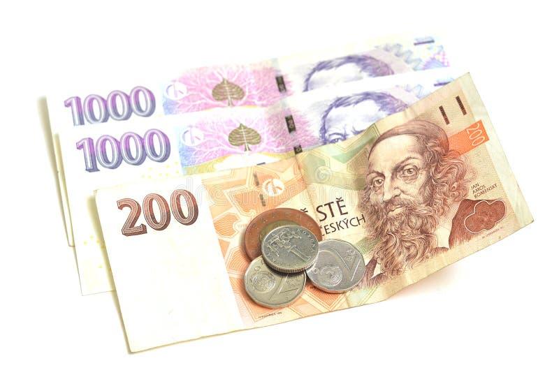 Две тысячи, 200 и кроны чеха монетки стоковые изображения
