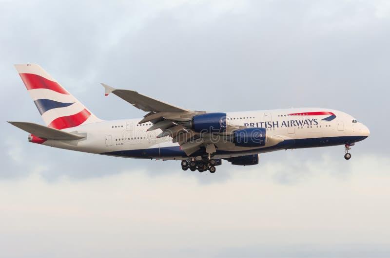 Двигатель аэробуса A380 British Airways воздушнодесантный стоковые фото