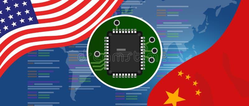 Двигатель обломока neuralink AI искусственного интеллекта цифровой нервный Китай и концепция отношений США Флаги на технологии иллюстрация вектора
