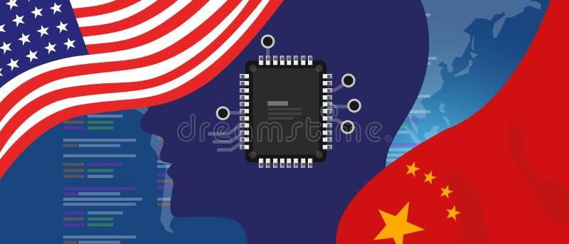 Двигатель обломока neuralink AI искусственного интеллекта цифровой нервный Китай и концепция отношений США Флаги на технологии иллюстрация штока