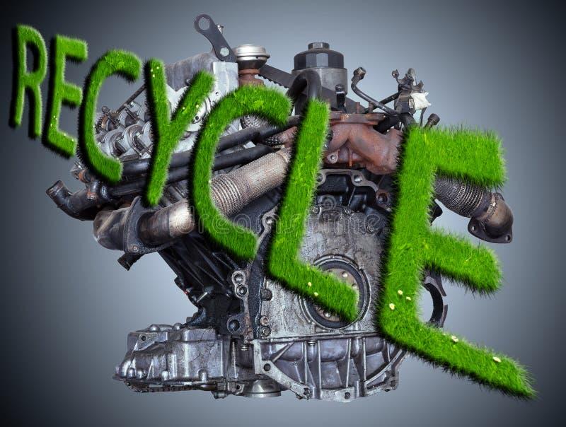 Двигатель автомобиля с знаком рециркулирует стоковое фото