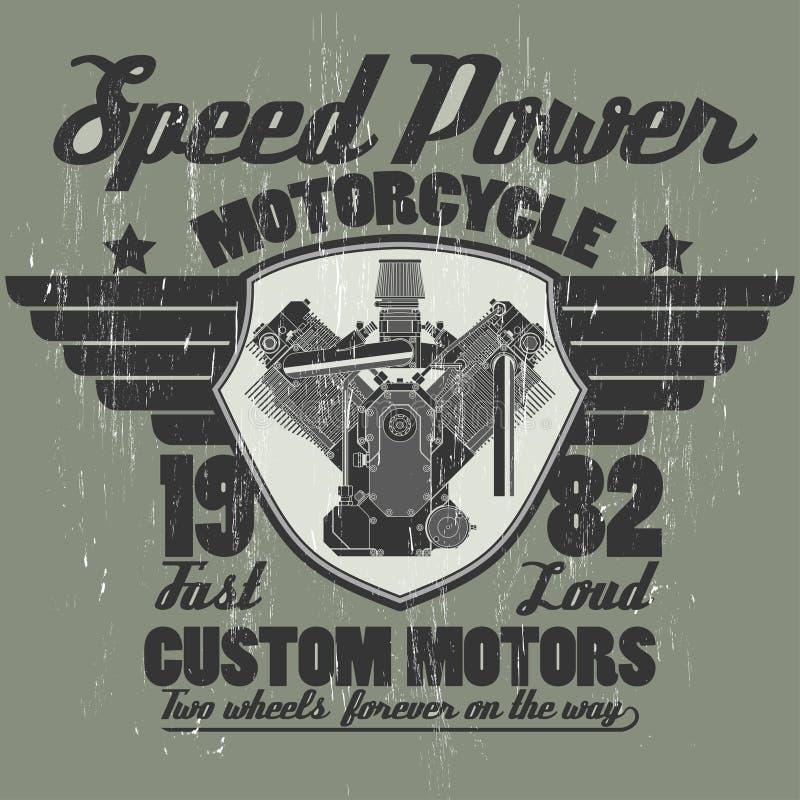 Двигатель мотоцикла, график эмблемы команды всадников бесплатная иллюстрация