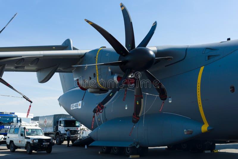 Двигатель турбовинтового самолета Europrop TP400-D6, войска транспортирует атлас аэробуса A400M воздушных судн стоковые фото