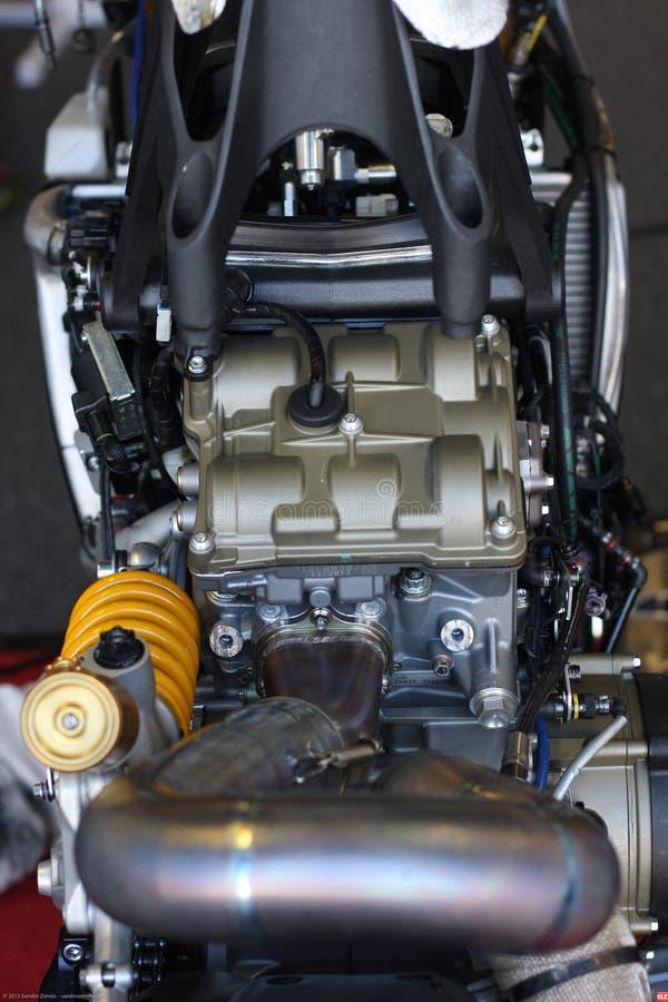 Двигатель 1199 Ducati Panigale r и задний Superbike WSBK Ducati Alstare suspensionTeam стоковое изображение