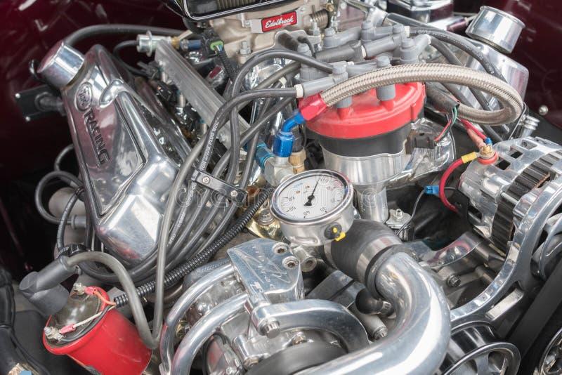 Двигатель Ford Мustang на дисплее стоковая фотография