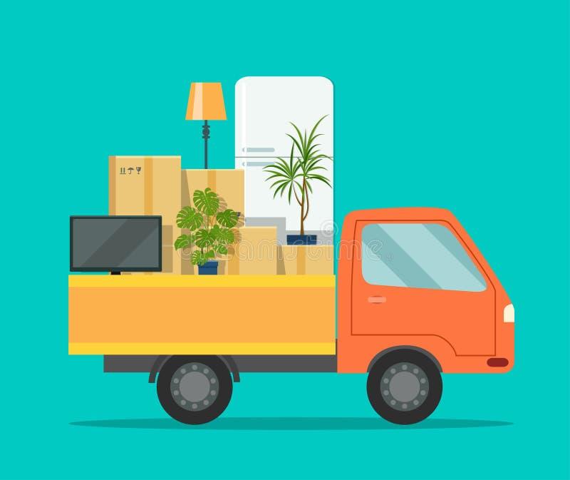 двигать дома Тележка с картонными коробками и мебелью иллюстрация штока