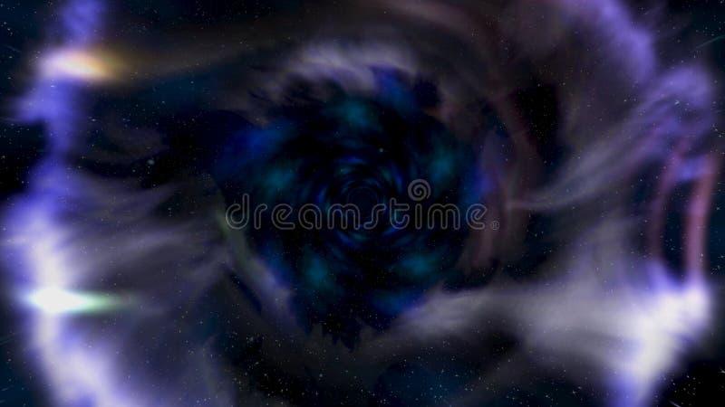 Двигающ назад в абстрактные червоточину, время и пространство, облака, и миллионы звезд r Красивая голубая галактика бесплатная иллюстрация