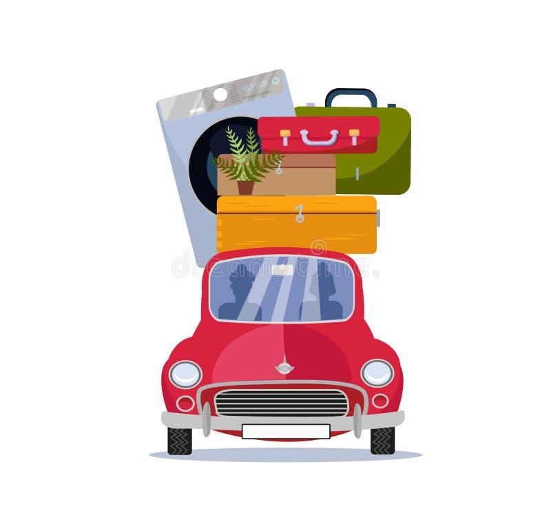 Двигая домашняя концепция Красный винтажный автомобиль с чемоданами, стиральной машиной и заводом на крыше : Автомобиль иллюстрация вектора