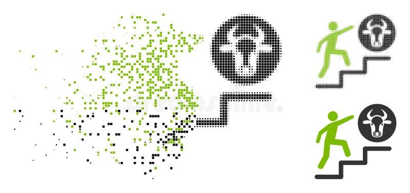 Двигая персона полутонового изображения Pixelated взбираясь для того чтобы устрашать значок бесплатная иллюстрация